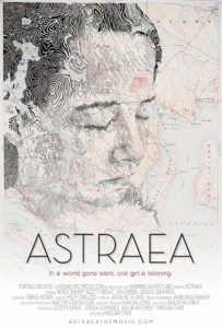 Film poster for Astraea. Image on poster is drawing of main character that also doubles as a map.