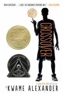 The Crossover book cover by Kwame Alexander. Image of the outline of a black kid twirling a ball on the front of it.