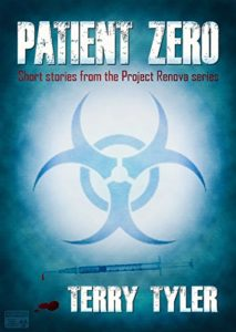 Patient Zero Post Apocalyptic Short Stories book cover. There is a biohazard sign on the cover as well.