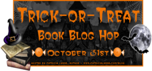 Banner for Trick-or-Treat Book Blog Hop banner. It features a bat and a full moon.