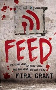 Book cover for Feed by Mira Grant. Image on it is of an Internet signal painted in blood (or red paint) on a concrete wall.
