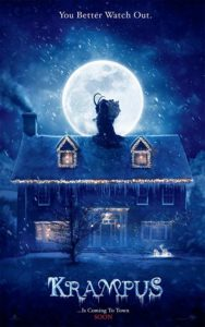 Krampus film poster. It shows the demon standing on the roof of the home the main characters live in.