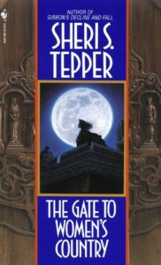 The Gate to Women's Country by Sheri S. Tepper book cover. Image is of top of a building, a woman standing in profile, and a full moon.