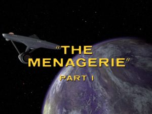 "Screenshot from Star Trek: The Original series episode ""The Menagerie Part 1."" The Enterprise and a planet are in the background of this shot."