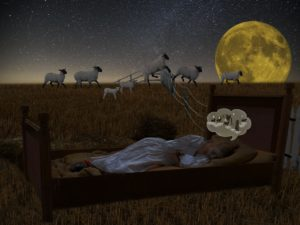 Woman counting sheep in her mind while lying in bed. Outside, a flock of sheep are literally jumping over a fence.