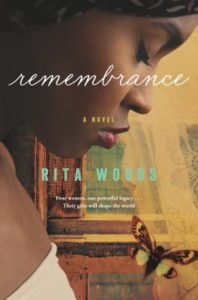 Remembrance by Rita Woods book cover. Image is of the profile of a woman's bowed head. her eyes are closed.