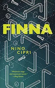 Finna by Nino Cipri book cover. Cover image is of bent tubes and screws scattered around.