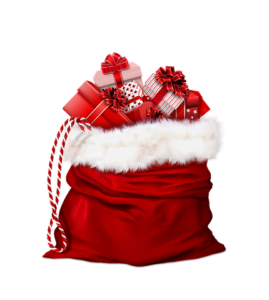 Santa's red bag overflowing with presents