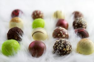 Assorted chocolate and fruit pralines