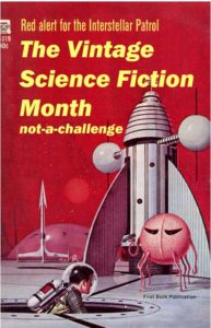 Vintage Science Fiction Blog Challenge badge. It shows a rocket ship against a red background. There is a bubble city in the background.