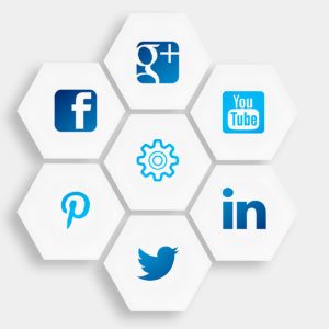 Arrangement of seven hexagons. The one in the midle contains a gear graphic. The rest contain graphics for Facebook, Pinterest, Twitter, Google+, Youtube, and Linkedin.
