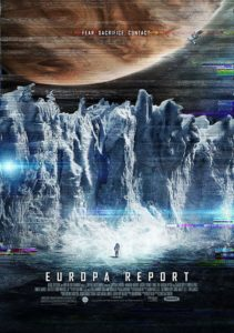 Film poster for Europa Report. Image on poster shows an astronaut standing on an icy plain in Europa while Jupiter looms overhead.