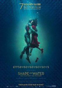 Film poster for The Shape of Water. It shows the two main characters embracing.