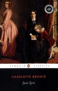Book cover for Jane Eyre by Charlotte Brontë . Image on cover shows Jane teaching her pupil as another woman looks on.
