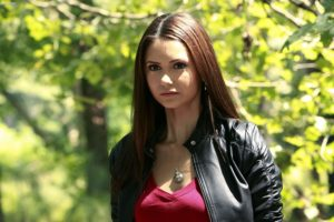 Nina Dobrev on the set of Vampire Diaries playing the character Elena Gilbert