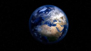Photo of Earth taken from space. The largest continent in view is Africa.