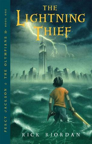 The Lightning Thief: Percy Jackson and the Olympians Series, Book 1 by Rick Riordan. Image on over is of a young boy holding a scroll and wading through water while lighting strikes a city in the background.