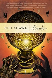 Book cover for Everfair by Nisi Shawl. Image on cover is of a pair of hands holding a globe that's illuminated by gold light and surrounded by flying birds.