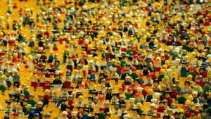 Dozens of lego figures crowded together