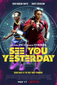 Film poster for See You Yesterday. It shows the two main characters running. There is a large clock in the background.