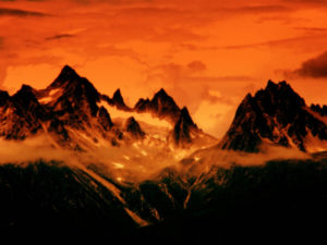 Photo of red, mountainous region that looks like Mordor