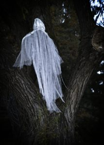 Sheets in a tree that were arranged to look like a ghost floating up in the branches.