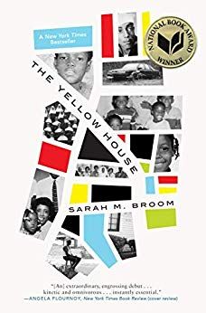 The Yellow House by Sarah M. Broom book cover. Image on cover is of a collage of family photos from an African-American family.