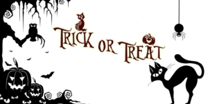 "A Halloween drawing that includes the phrase ""Trick or Treat,"" a black cat, two pumpkins, a spider, and an owl sitting in a tree."