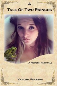 Book cover for A Tale of Two Princes. Image on the cover is of a young woman lying in a bed with a frog sitting on her chest and shoulder.