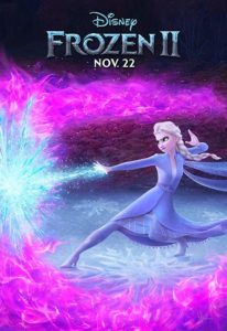 Film poster for Frozen II. Image on poster is of Elsa using her powers to create ice against a purple background.