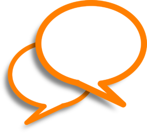 Two overlapping speech bubbles that have orange outlines