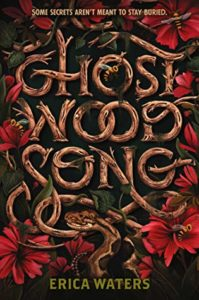 Book cover for Ghost Wood Song  by Erica Waters. Image on cover is of book title in the shape of curved pieces of wood.
