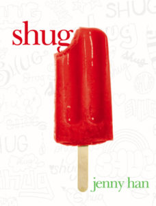 Shug by Jenny Han book cover. Image on cover is of a red popsicle with one bite taken out of it.