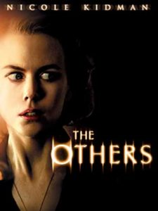 Film poster for The Others. Image on poster is of Nicole Kidman looking scared.