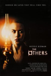 Film poster for The Others. Image on poster is of Nicole Kidman holding a lantern and looking frightened