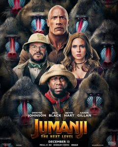 Jack Black, Kevin Hart, Dwayne Johnson, and Karen Gillian posing as their characters in a film poster for Jumanji: The Next Level. They're all surrounded by baboons.
