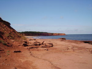 Red sandstone cliffs and red beach at Prince Edward Island.