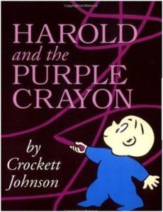 Harold and the Purple Crayon (Harold, #1) by Crockett Johnson book cover. image on cover is drawing of toddler drawing with a purple crayon on a black wall.