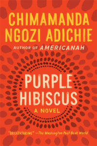 Purple Hibiscus by Chimamanda Ngozi Adichie book cover. Image on cover is abstract red and brown painting.