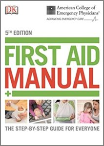 American College of Emergency Physicians First Aid Manual book cover. Image on cover is of four people seeking first aid for fevers, broken limbs, and other ailments.