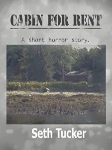 Book cover for Seth Tucker's Cabin for Rent. Image on cover is of a cabin surrounded by a dark woods and with a muddy lake in the foreground of the shot.