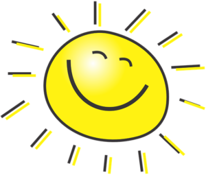 a drawing of the sun that includes a smiley face on the sun