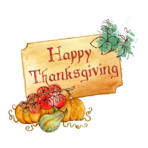 Drawing of the phrase Happy Thanksgiving on a wooden sign. The sign has some leaves flanking it and a pile of squash, tomatoes, and pumpkins sitting below it.