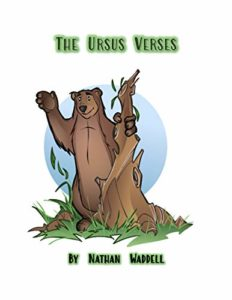The Ursus Versus by Nathan Waddell book cover. Image on cover is of a cartoon bear standing behind a tree stump, peeking out, and waving.