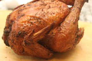 close-up shot of roasted bird