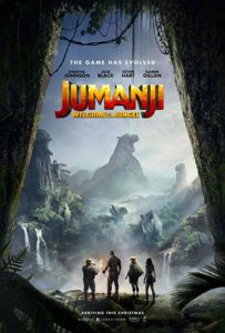 Film poster for Jumanji. image on poster shows four main characters standing at the mouth of a cave looking out onto a jungle with mountains in the distance.