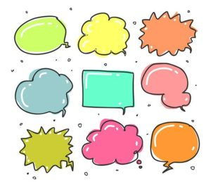 Nine speech bubbles in a variety of shapes and pastel colours.
