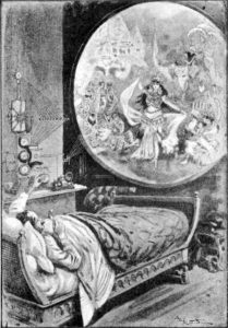 1911 sketch of A man seeing live television in his bed.