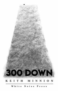 300 Down by Keith Minnionbook cover. Image on cover is a black and white photo of a narrow strip of grass.