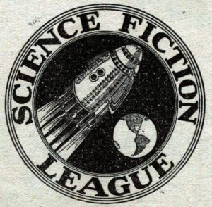 Science Fiction League logo. Image on logo shows rocket ship flying past earth from the perspective of someone who is in outer space looking below at both of these things.